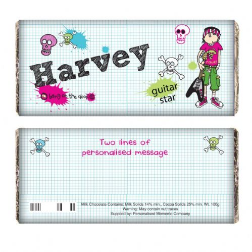 Personalised Bang on the Door Guitar Star Chocolate Bar